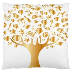 Abstract Book Floral Food Icons Large Cushion Case (two Sides) by Nexatart