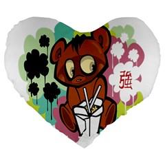 Bear Cute Baby Cartoon Chinese Large 19  Premium Heart Shape Cushions by Nexatart