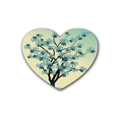 Branches Field Flora Forest Fruits Rubber Coaster (heart)  by Nexatart