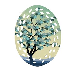 Branches Field Flora Forest Fruits Ornament (oval Filigree) by Nexatart