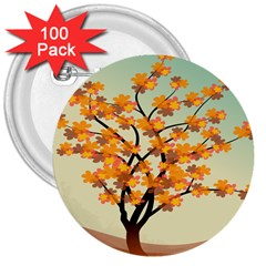 Branches Field Flora Forest Fruits 3  Buttons (100 Pack)  by Nexatart