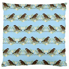 Sparrows Large Cushion Case (one Side) by SuperPatterns