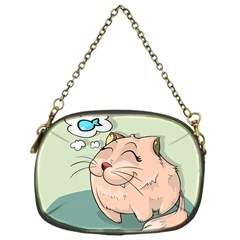 Cat Animal Fish Thinking Cute Pet Chain Purses (one Side)  by Nexatart