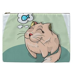 Cat Animal Fish Thinking Cute Pet Cosmetic Bag (xxl)  by Nexatart