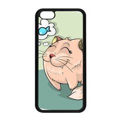 Cat Animal Fish Thinking Cute Pet Apple Iphone 5c Seamless Case (black) by Nexatart