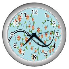 Branch Floral Flourish Flower Wall Clocks (silver)  by Nexatart
