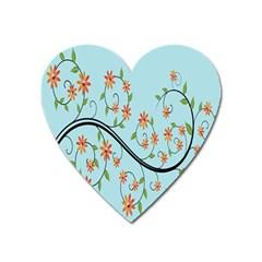 Branch Floral Flourish Flower Heart Magnet by Nexatart