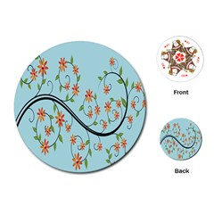 Branch Floral Flourish Flower Playing Cards (round)  by Nexatart