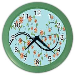 Branch Floral Flourish Flower Color Wall Clocks by Nexatart