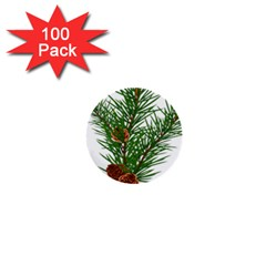 Branch Floral Green Nature Pine 1  Mini Buttons (100 Pack)
