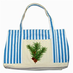 Branch Floral Green Nature Pine Striped Blue Tote Bag by Nexatart