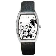 Ecological Floral Flowers Leaf Barrel Style Metal Watch by Nexatart