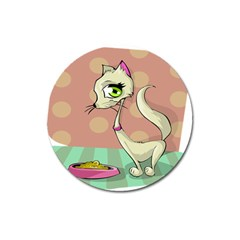 Cat Food Eating Breakfast Gourmet Magnet 3  (round) by Nexatart