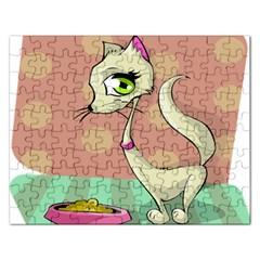 Cat Food Eating Breakfast Gourmet Rectangular Jigsaw Puzzl by Nexatart