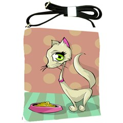 Cat Food Eating Breakfast Gourmet Shoulder Sling Bags by Nexatart
