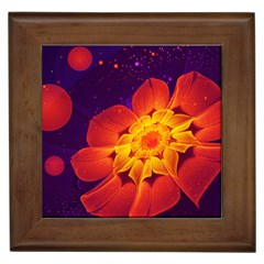 Royal Blue, Red, And Yellow Fractal Gerbera Daisy Framed Tiles by beautifulfractals