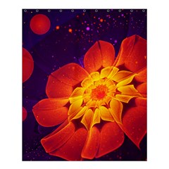 Royal Blue, Red, And Yellow Fractal Gerbera Daisy Shower Curtain 60  X 72  (medium)  by beautifulfractals