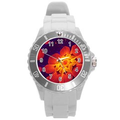 Royal Blue, Red, And Yellow Fractal Gerbera Daisy Round Plastic Sport Watch (l) by beautifulfractals
