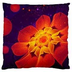 Royal Blue, Red, And Yellow Fractal Gerbera Daisy Large Cushion Case (two Sides) by beautifulfractals