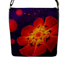 Royal Blue, Red, And Yellow Fractal Gerbera Daisy Flap Messenger Bag (l)  by beautifulfractals