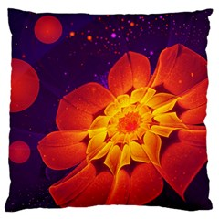 Royal Blue, Red, And Yellow Fractal Gerbera Daisy Large Flano Cushion Case (two Sides) by beautifulfractals