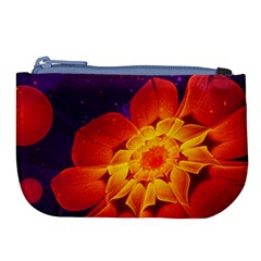 Royal Blue, Red, And Yellow Fractal Gerbera Daisy Large Coin Purse by beautifulfractals