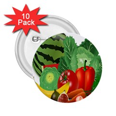 Fruits Vegetables Artichoke Banana 2 25  Buttons (10 Pack)  by Nexatart