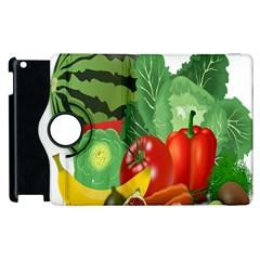 Fruits Vegetables Artichoke Banana Apple Ipad 3/4 Flip 360 Case by Nexatart