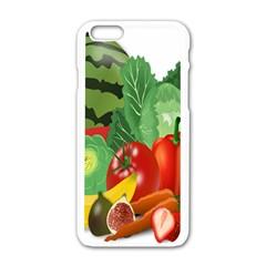 Fruits Vegetables Artichoke Banana Apple Iphone 6/6s White Enamel Case by Nexatart