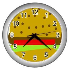 Hamburger Food Fast Food Burger Wall Clocks (silver)  by Nexatart