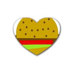 Hamburger Food Fast Food Burger Rubber Coaster (heart)  by Nexatart