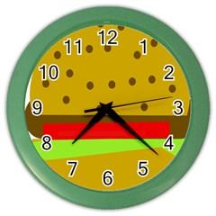 Hamburger Food Fast Food Burger Color Wall Clocks by Nexatart