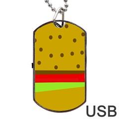 Hamburger Food Fast Food Burger Dog Tag Usb Flash (one Side) by Nexatart
