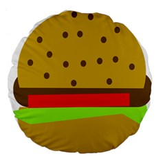 Hamburger Food Fast Food Burger Large 18  Premium Flano Round Cushions by Nexatart