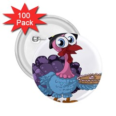 Turkey Animal Pie Tongue Feathers 2 25  Buttons (100 Pack)  by Nexatart