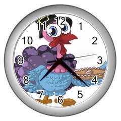 Turkey Animal Pie Tongue Feathers Wall Clocks (silver)  by Nexatart