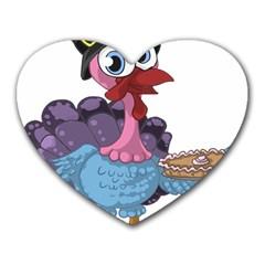 Turkey Animal Pie Tongue Feathers Heart Mousepads by Nexatart