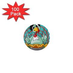 Pie Turkey Eating Fork Knife Hat 1  Mini Buttons (100 Pack)  by Nexatart