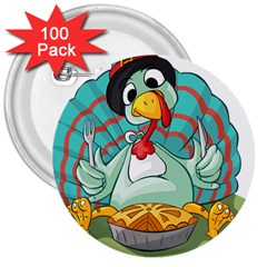 Pie Turkey Eating Fork Knife Hat 3  Buttons (100 Pack)  by Nexatart