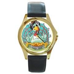 Pie Turkey Eating Fork Knife Hat Round Gold Metal Watch by Nexatart