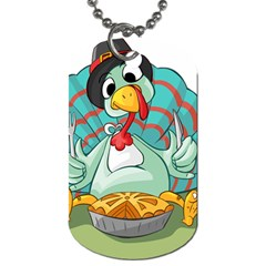 Pie Turkey Eating Fork Knife Hat Dog Tag (two Sides) by Nexatart