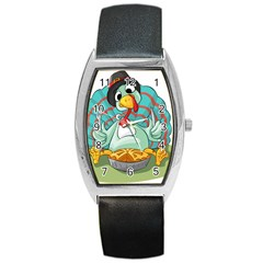 Pie Turkey Eating Fork Knife Hat Barrel Style Metal Watch by Nexatart