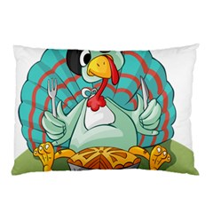 Pie Turkey Eating Fork Knife Hat Pillow Case by Nexatart