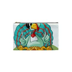 Pie Turkey Eating Fork Knife Hat Cosmetic Bag (small)  by Nexatart