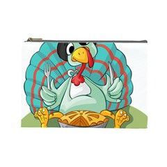Pie Turkey Eating Fork Knife Hat Cosmetic Bag (large)  by Nexatart