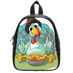Pie Turkey Eating Fork Knife Hat School Bags (small)  by Nexatart