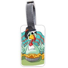 Pie Turkey Eating Fork Knife Hat Luggage Tags (one Side)  by Nexatart