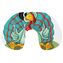 Pie Turkey Eating Fork Knife Hat Travel Neck Pillows by Nexatart