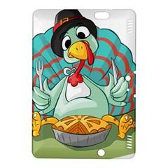Pie Turkey Eating Fork Knife Hat Kindle Fire Hdx 8 9  Hardshell Case by Nexatart