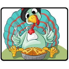 Pie Turkey Eating Fork Knife Hat Double Sided Fleece Blanket (medium)  by Nexatart